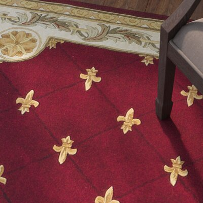 Totternhoe Red FleurDeLis Rug Rug Size: Rectangle 36 x 56
