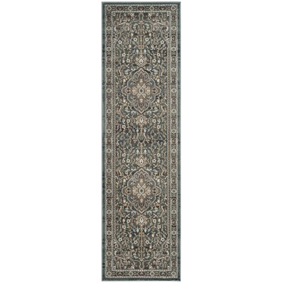 Taufner Teal/Gray Area Rug Rug Size: Runner 23 x 8