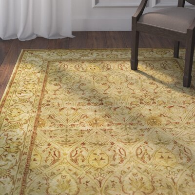Empress Hand Tufted Wool Moss/Beige Area Rug Rug Size: Rectangle 26 x 4