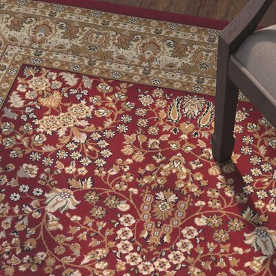 Belcourt Floral Red Area Rug Rug Size: Rectangle 92 x 126