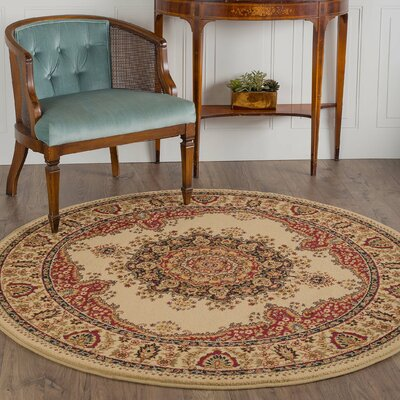 Clarence Ivory/Red Area Rug Rug Size: Round 8