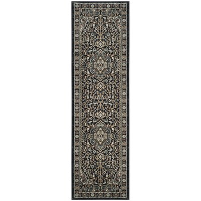 Taufner Anthracite/Teal Area Rug Rug Size: Runner 23 x 8