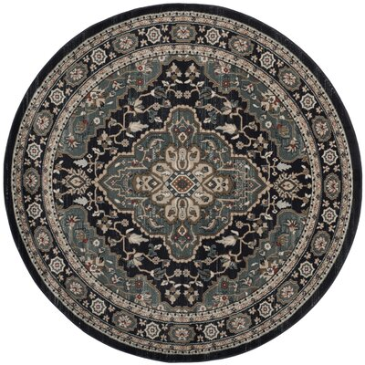 Taufner Anthracite/Teal Area Rug Rug Size: Round 7 x 7