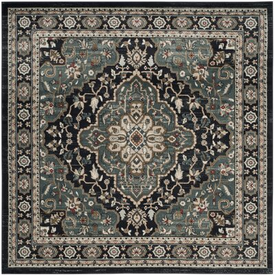 Taufner Anthracite/Teal Area Rug Rug Size: Square 7 x 7