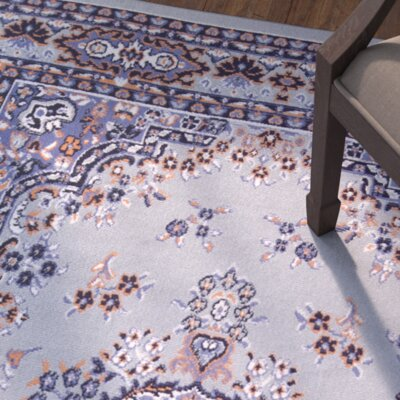 Lilly Gray/Blue Area Rug Rug Size: 52 x 74