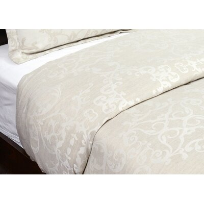 Savoy Reversible Duvet Cover Size: King, Color: Natural