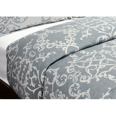 Savoy Reversible Duvet Cover Size: King, Color: Denim Blue