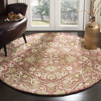 Davila Hand-Tufted Brown/Green Area Rug Rug Size: Round 5