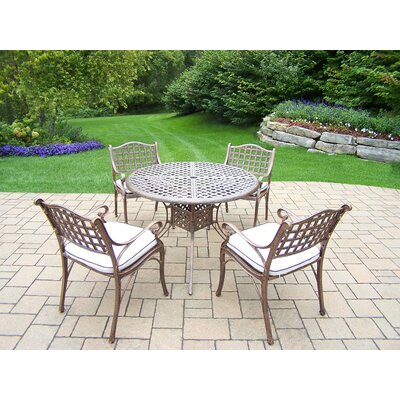 Thelma 5 Piece Aluminum Dining Set with Cushions Cushion Color: Sunbrella Spunpoly