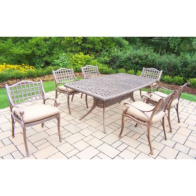 Thelma 7 Piece Traditional Dining Set with Cushions Cushion Color: Sunbrella Spunpoly