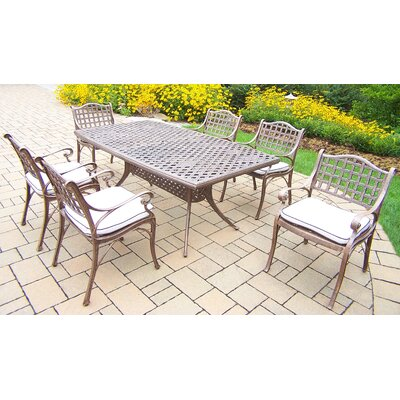 Thelma 7 Piece Traditional Dining Set with Cushions Cushion Color: Oak Meal