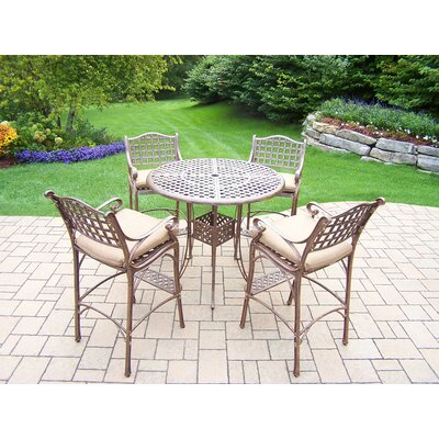Thelma 5 Piece Aluminum Bar Set with Cushions Cushion Color: Oak Meal