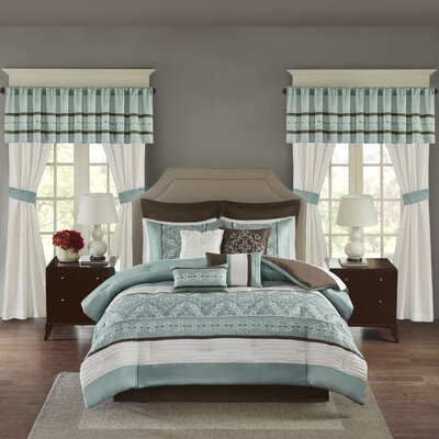 Woodford 24 Piece Room in a Bag Set Color: Seaform, Size: King