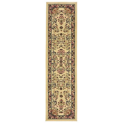 Arias Sarouk Ivory/Green Indoor Area Rug Rug Size: Runner 11 x 7