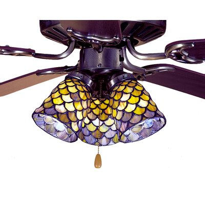4 Glass Bowl Ceiling Fan Fitter Shade Color: Honey Dripped Emerald, Sapphire and Garnet