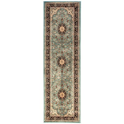 Belliere Medallion Traditional Light Blue Area Rug Rug Size: Runner 23 x 73