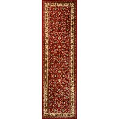 Belliere Sarouk Border Red Area Rug Rug Size: Runner 23 x 73