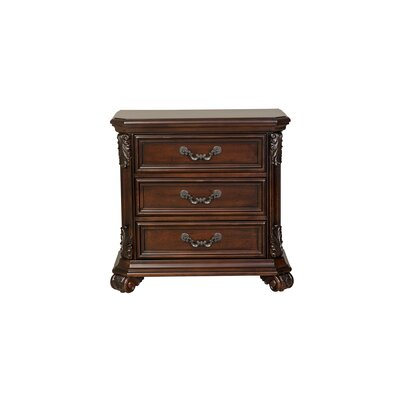 Cavas 3 Drawer Nightstand Finish: Cognac