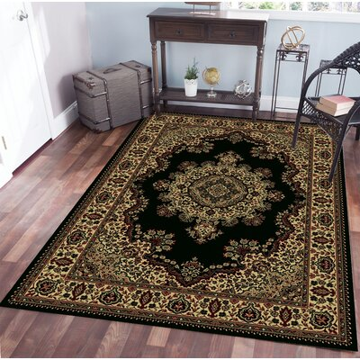 Northington Black Area Rug Rug Size: Rectangle 55 x 77