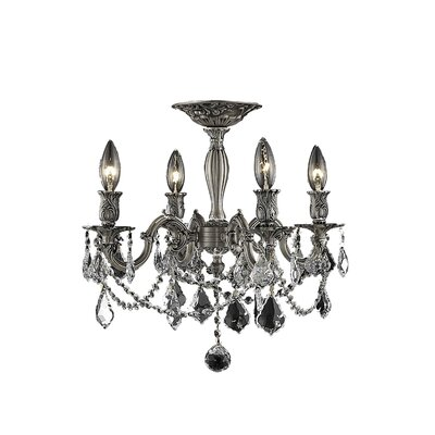 Utica 4-Light Candle-Style Chandelier Crystal Color / Crystal Grade: Crystal (Clear) / Elegant Cut