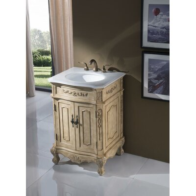 Ambudkar 24 Single Vanity Set Base Finish: Antique Beige