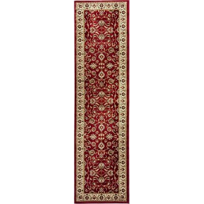 Belliere Sarouk Border Red Area Rug Rug Size: Runner 23 x 73