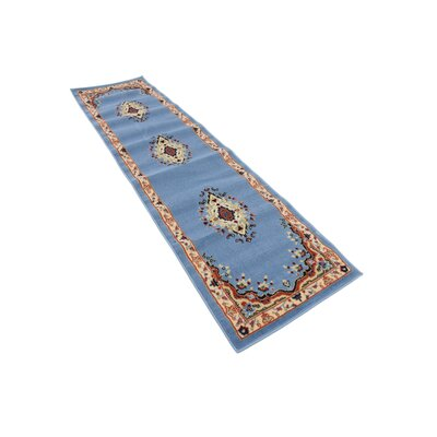 Britain Blue/Beige Area Rug Rug Size: Runner 22 x 82