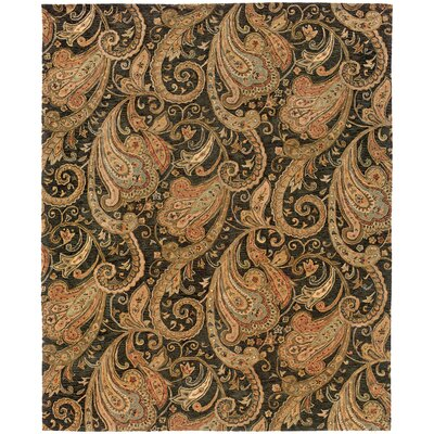 Lanesborough Hand-Tufted Black/Gold Area Rug Rug Size: Rectangle 53 x 83