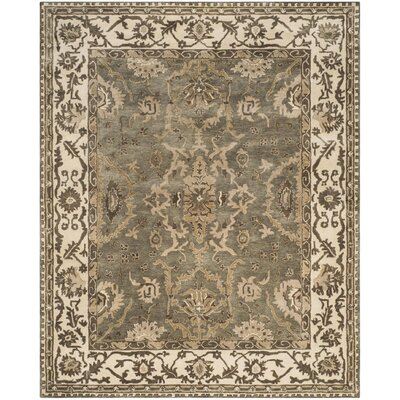 Colliers Hand-Tufted Gray/Cream Area Rug Rug Size: Square 7 x 7