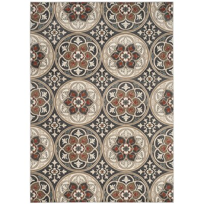 Taufner Light Gray/Coral Area Rug Rug Size: Square 8' x 8'
