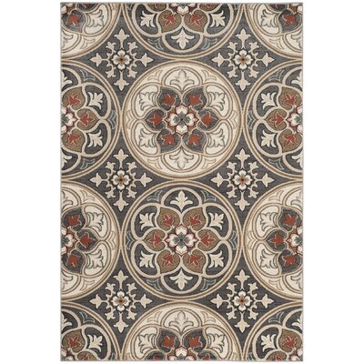 Taufner Light Gray/Coral Area Rug Rug Size: Rectangle 53 x 76