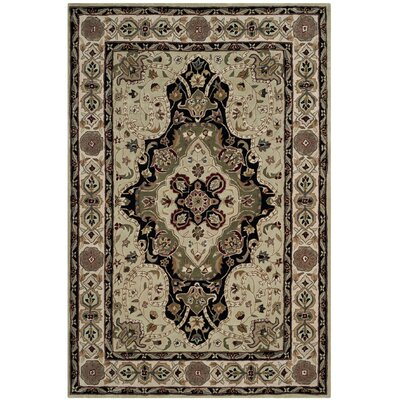 Mckee Hand-Hooked Soft Green/Ivory Area Rug Rug Size: Rectangle 4 x 6