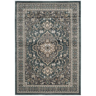 Taufner Teal/Gray Area Rug Rug Size: Rectangle 53 x 76