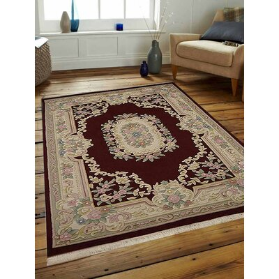 Shephard Hand-Woven Maroon Area Rug Rug Size: Rectangle�3 x 5