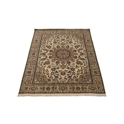 Shephard Hand-Knotted Wool Cream Area Rug Rug Size: 8 x 10