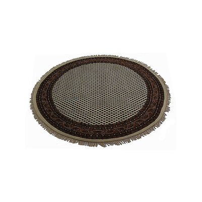 Shephard Hand-Knotted Wool Cream Area Rug Rug Size: Round 6