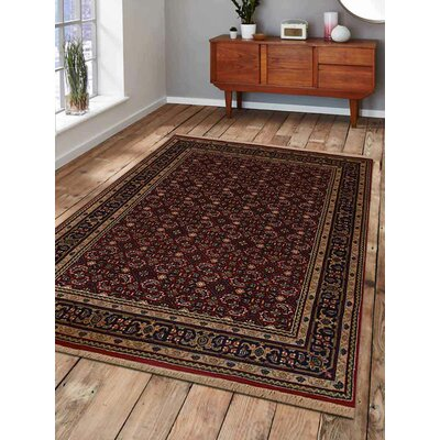 Shephard Hand-Woven Wool Red Area Rug Rug Size: Rectangle 54 x 710