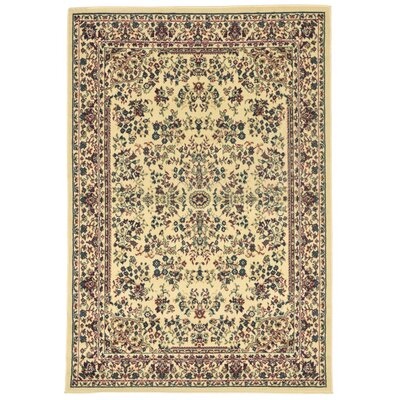 Arias Sarouk Ivory/Green Indoor Area Rug Rug Size: 49 x 7