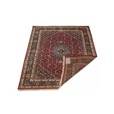 Shephard Hand-Knotted Wool Red Area Rug Rug Size: 64 x 97