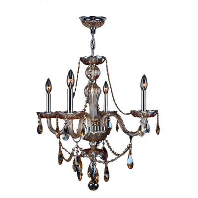 Doggett 4-Light Chain Crystal Chandelier Crystal Color: Amber