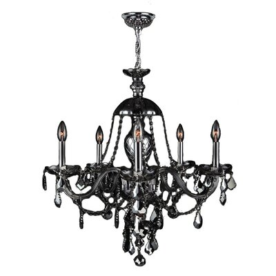 Doggett Traditional 5-Light Crystal Chandelier Crystal Color: Smoke