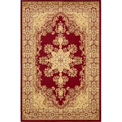 Onsted Red/Beige Area Rug Rug Size: Rectangle 6 x 9