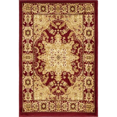 Onsted Red/Beige Area Rug Rug Size: Rectangle 2'2
