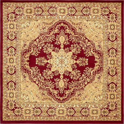 Onsted Red/Beige Area Rug Rug Size: Square 8'