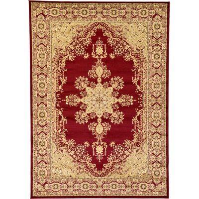 Onsted Red/Beige Area Rug Rug Size: Rectangle 7 x 10