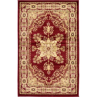 Britannia Red/Beige Area Rug Rug Size: Rectangle 33 x 53