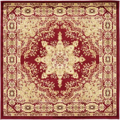 Onsted Red/Beige Area Rug Rug Size: Square 4