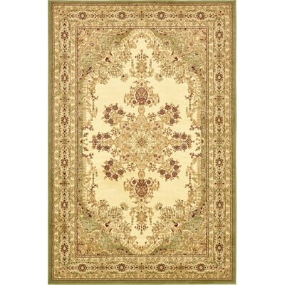 Britannia Beige/Green Area Rug Rug Size: Rectangle 6 x 9