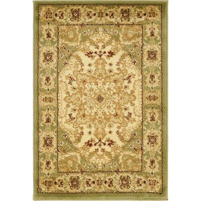 Britannia Beige/Green Area Rug Rug Size: Rectangle 22 x 3
