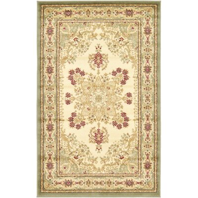 Britannia Beige/Green Area Rug Rug Size: Rectangle 33 x 53